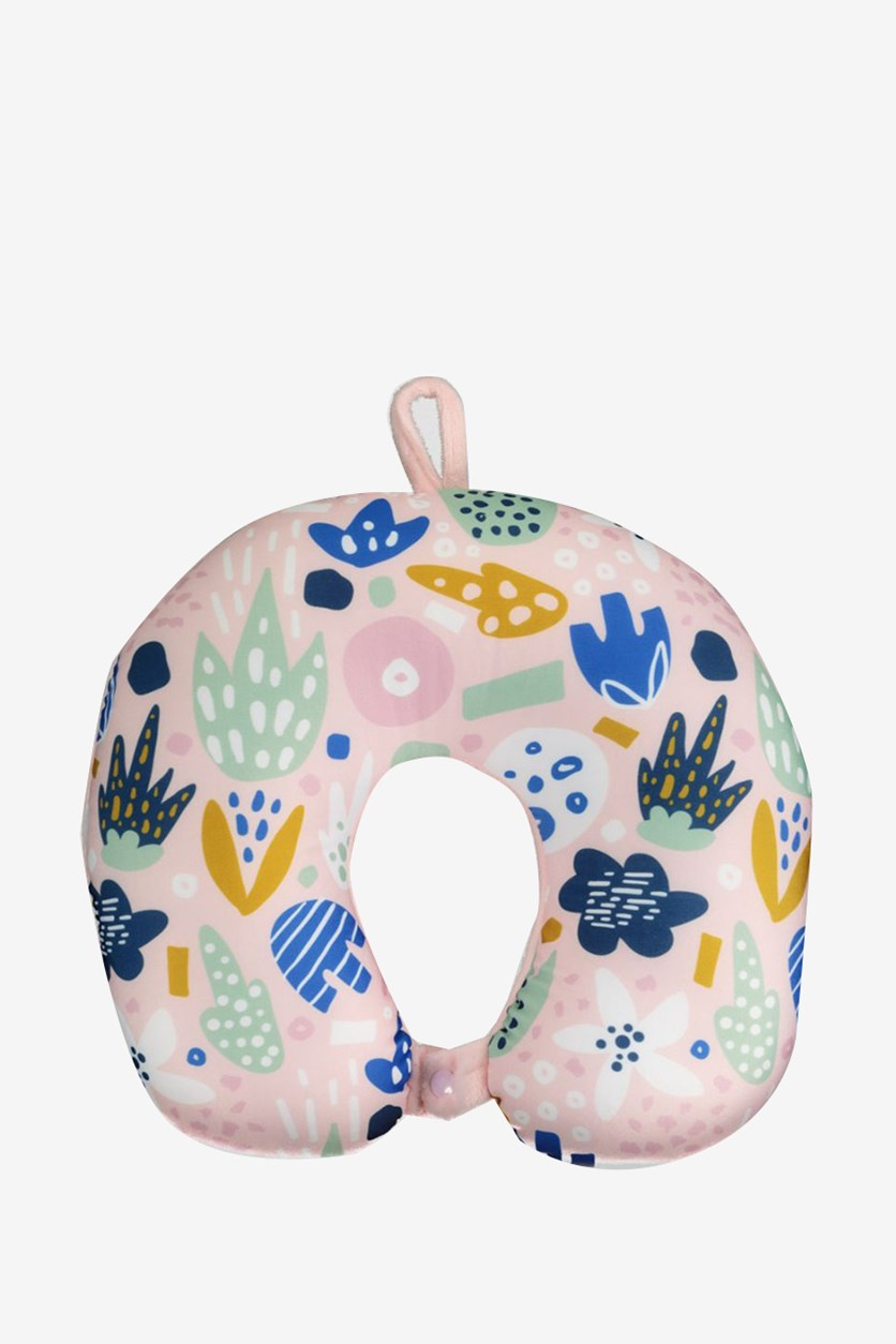 U-Shaped Micro Beads Neck Pillow, Plant/Pink