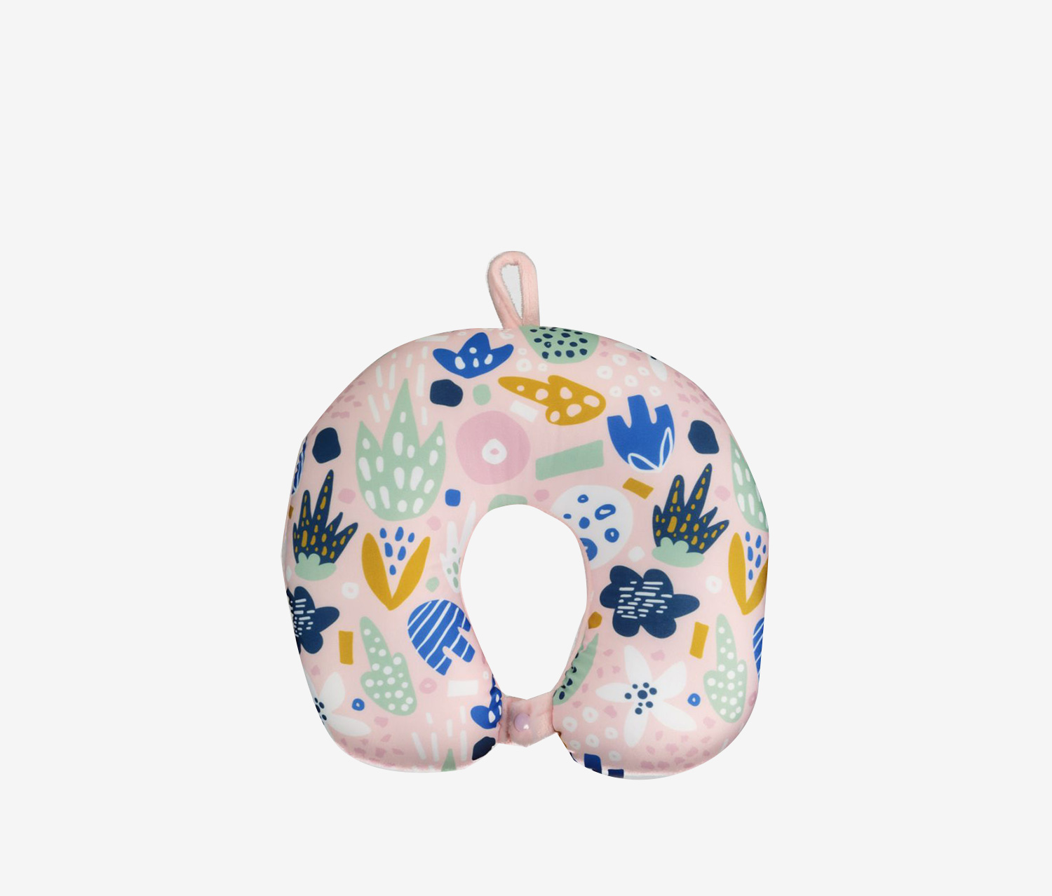 Mumuso U-Shaped Micro Beads Neck Pillow, Plant/Pink