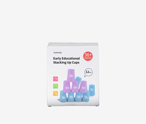 Early Educational Stacking Up Cups-12 pcs, Purple/Blue Combo