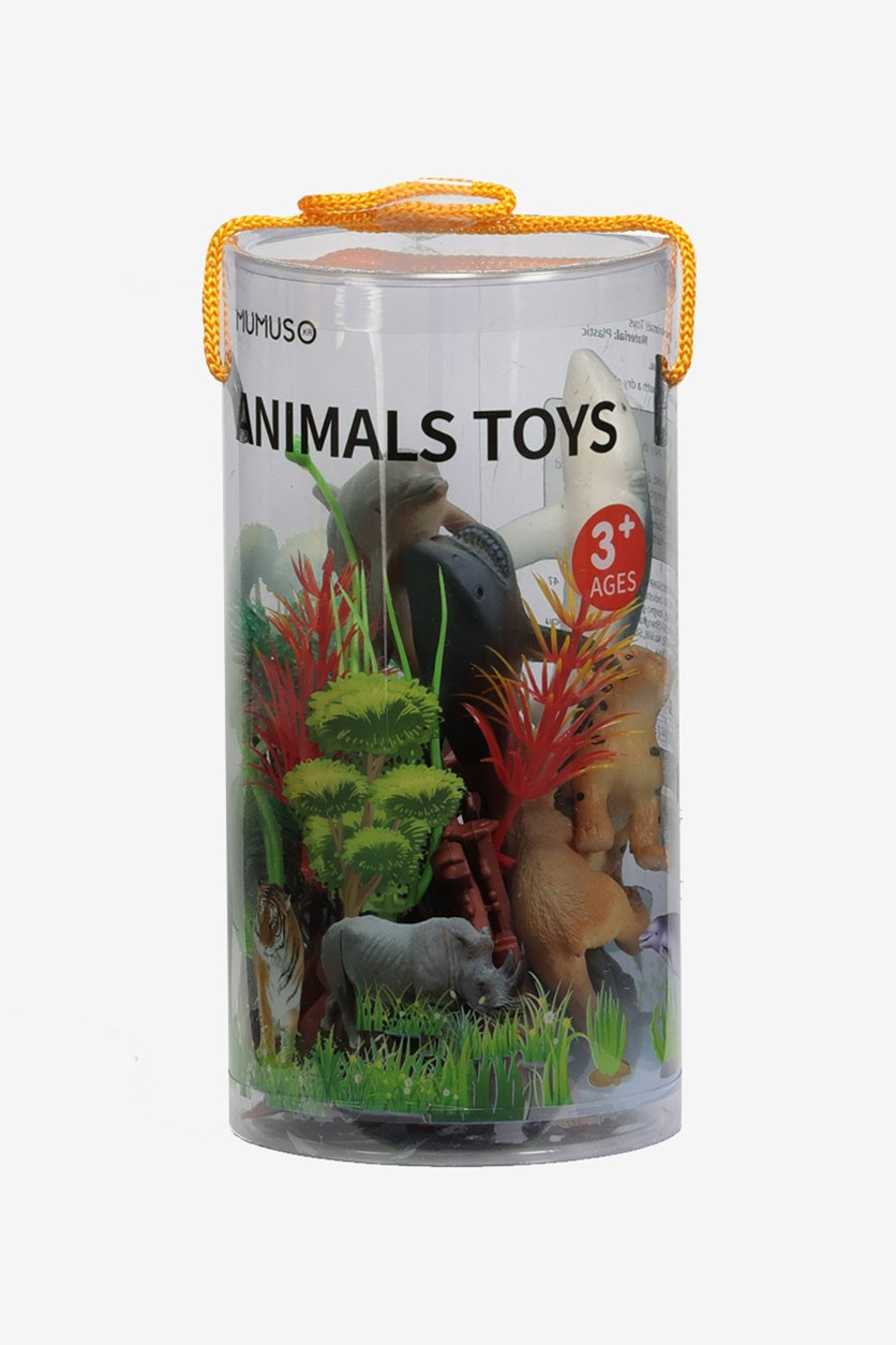 Animals Toys 8 pieces Set, Grey/Yellow/Green Combo