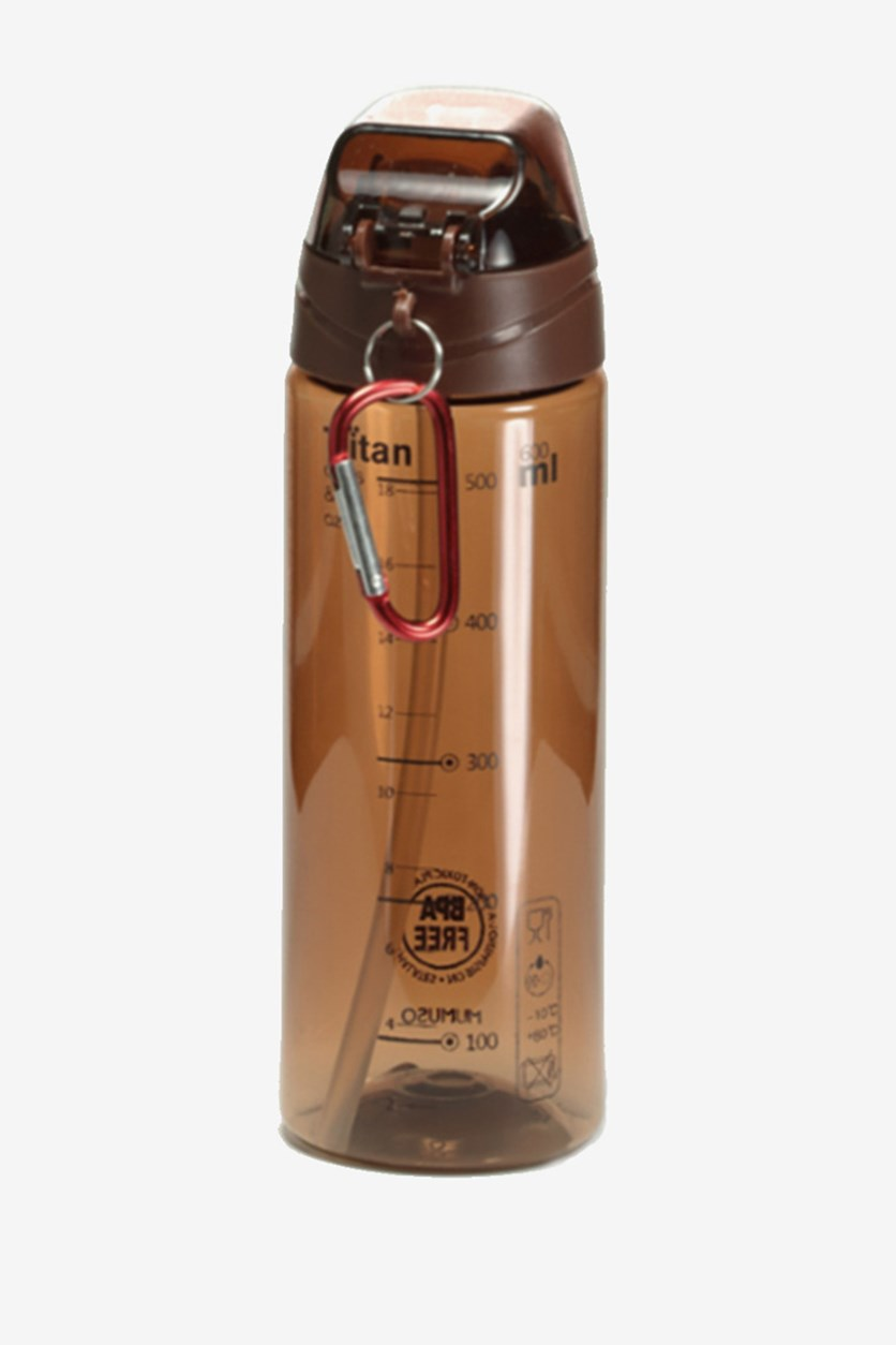 Portable Plastic Bottle With Straw, Coffee