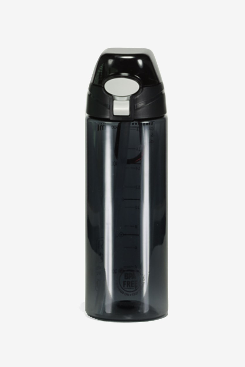 Portable Plastic Bottle With Straw, Black