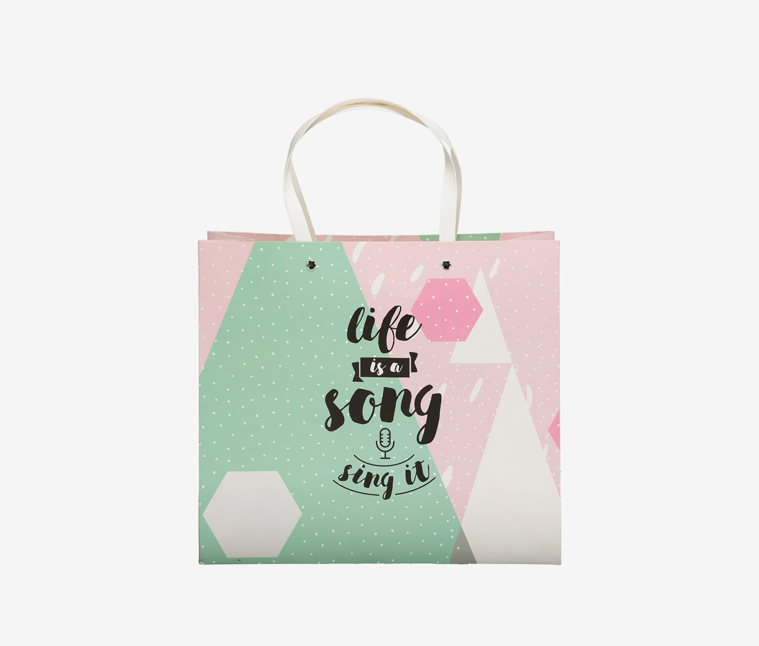 Life is A Song Gift Bag, Pink/Green
