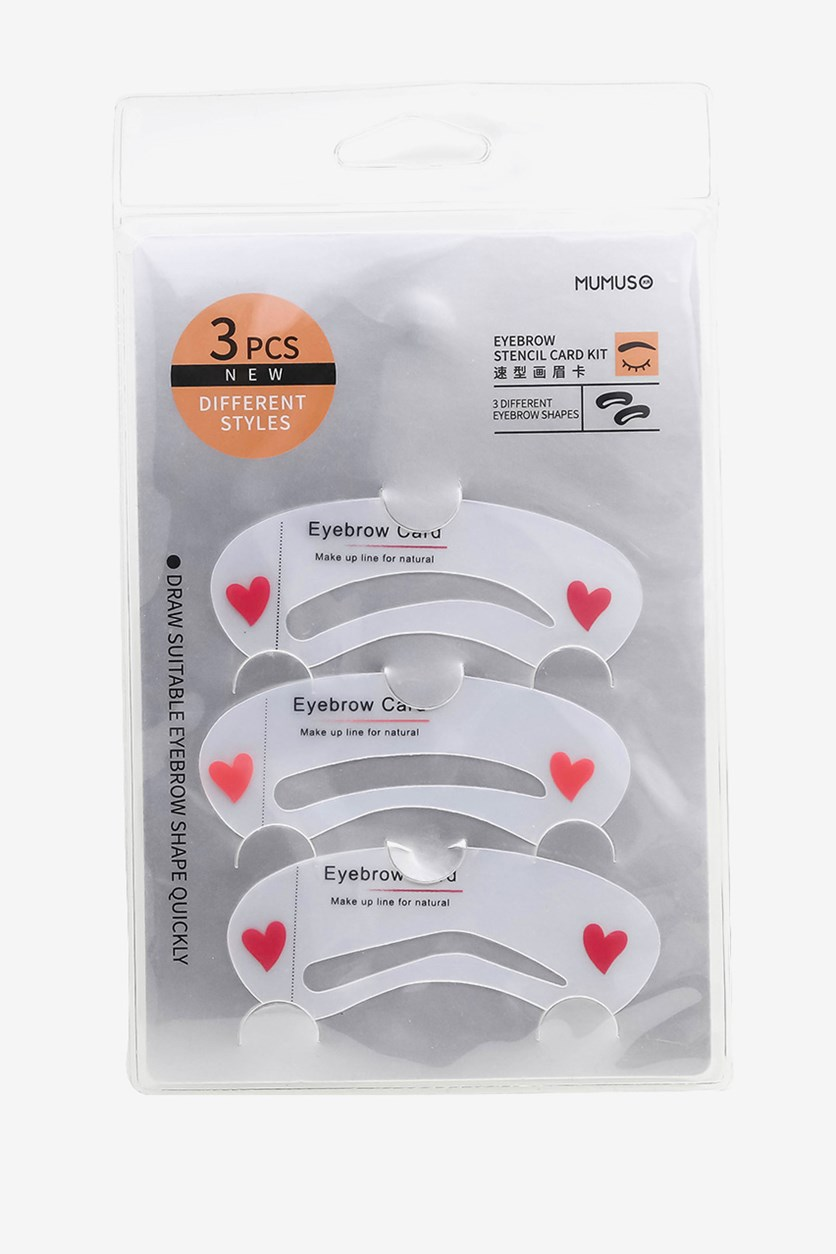 Eyebrow Stencil Card Kit Set of 3, Transparent