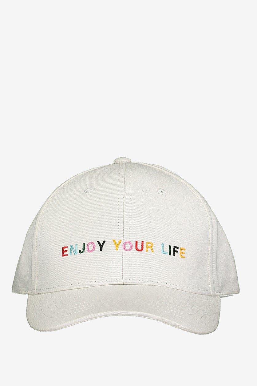 Baseball Cap-Colored Embroidery, White