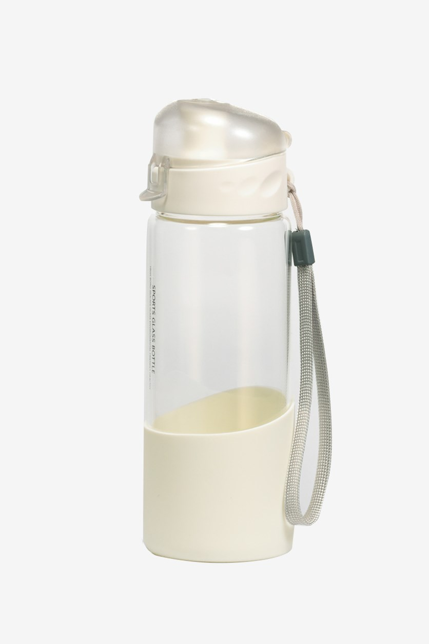 Portable Glass Bottle, Transparent/White