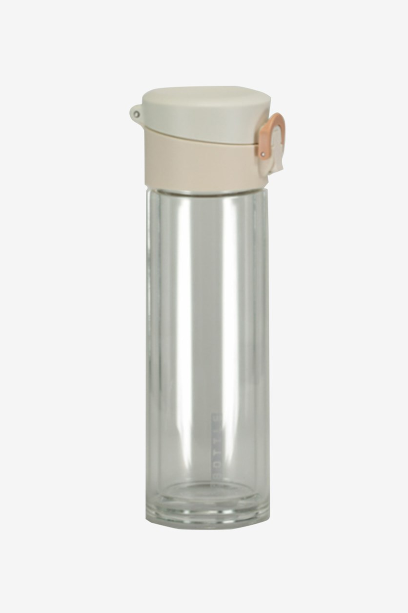 Double-Wall Glass Bottle With Flip Cap, Offwhite/Trasparent