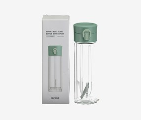 Double-Wall Glass Bottle With Flip Cap, Green/Trasparent