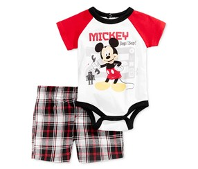 Disney Boy's Mickey Beep Beep Bodysuit & Plaid Shorts Set, White/Reed