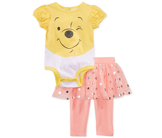 Disney Baby Girl's Winnie The Pooh Bodysuit & Skirted Legging Set, White/Pink,Yellow