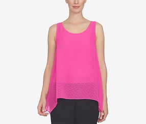 CeCe Women's Handkerchief-Hem Top, Pink