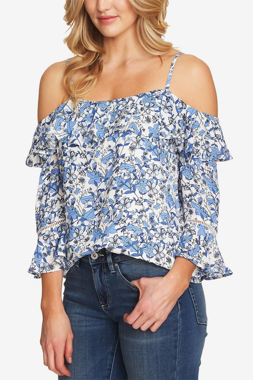 Women's Ruffled Cold-Shoulder Top, Antique