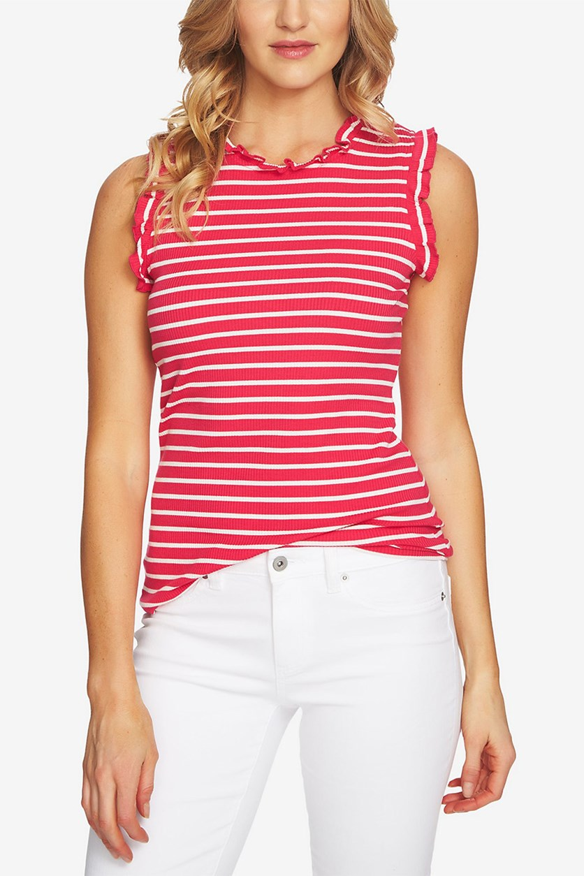 Ruffled Striped Top, Viva Pink