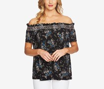 CeCe Printed Off-The-Shoulder Top, Rich Black