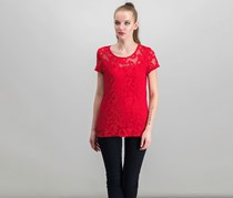 International Concepts Lace Illusion Top, Real Red