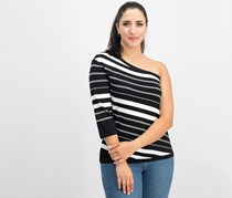 Anne Klein Women's One Shoulder Stripe Top, Black/White