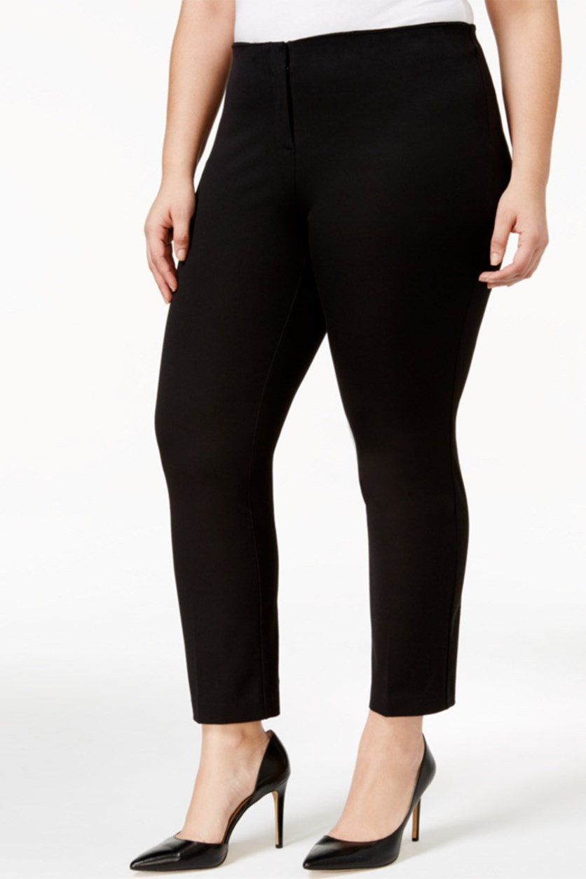 Plus Size Cropped Pants, Black