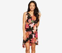 Tahari By ASL Petite Tiered Floral Chiffon Shift Dress, Black/Pink/Orange