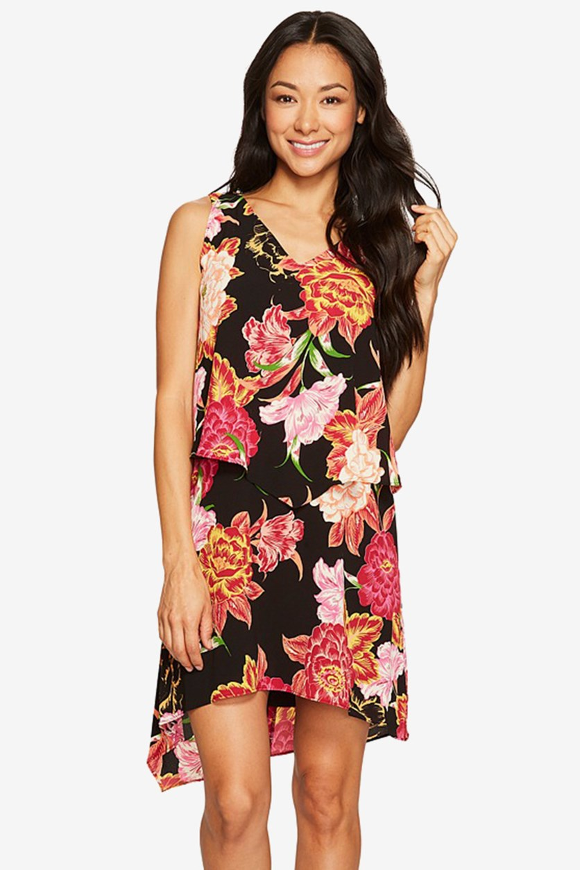 By ASL Petite Tiered Floral Chiffon Shift Dress, Black/Pink/Orange