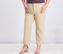 Charter Club Plus Size Newport Tummy-Control Cropped Pants, Sedona Dust