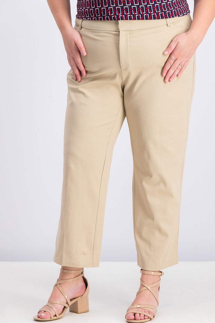 Plus Size Newport Tummy-Control Cropped Pants, Sedona Dust