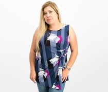 Alfani Plus Size Printed Side-Tie Top, Blue Block Buds