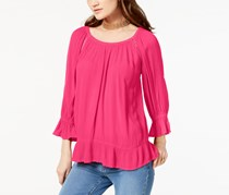 INC Women's Roll-Tab-Sleeve Open-Front Cardigan, Pink