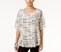 Alfani Petite Printed Flounced Poncho Top, Watercolor Stone