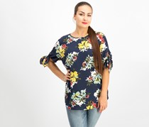 Charter Club Floral Tie-Sleeve Tops, Intrepid Blue Combo