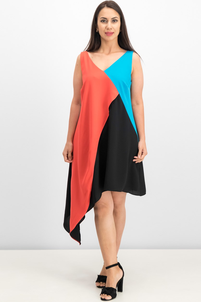 Asymmetrical Colorblocked Dress, Black/Blue/Coral