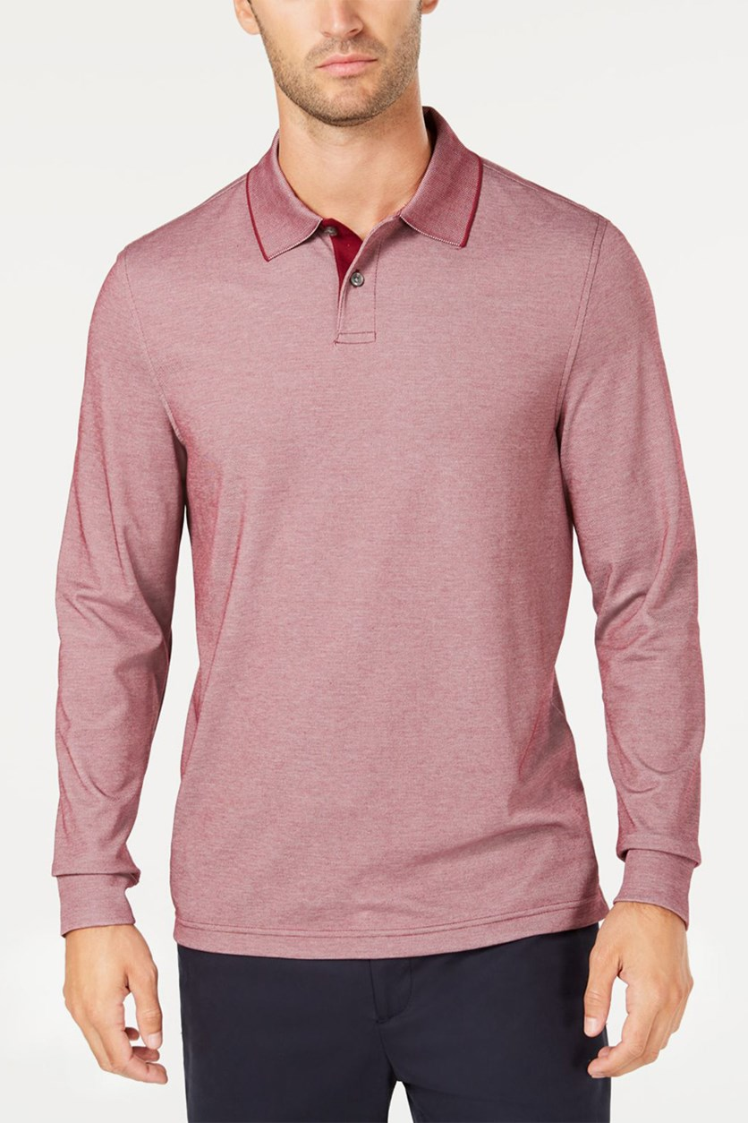 Men's Supima Blend Long-Sleeve Polo, Cherry Pie
