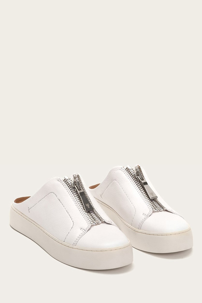 Womens Lena Zip Mules, White