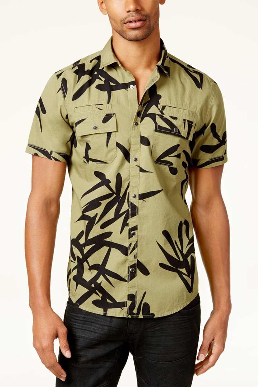 Men's Geometric Print Shirt, Gossamer Green