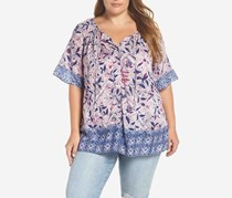 Lucky Brand Womens Plus Tie-Front Button-Down Peasant Top, Purple Combo