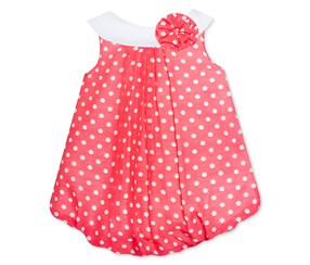 Baby Essentials Baby Girl's Dot Bubble Romper, Coral/White