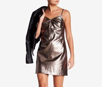 1.State Metallic Faux Leather Dress, Silver Foil