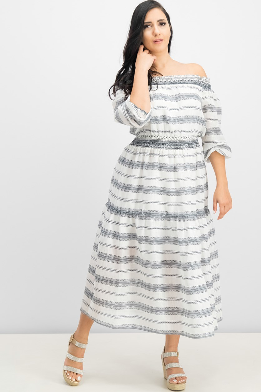 Smocked Off-The-Shoulder Dress, White Combo
