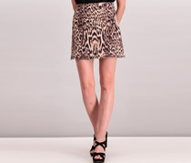 Mango Leopard Cotton Skirt, Black/Brown