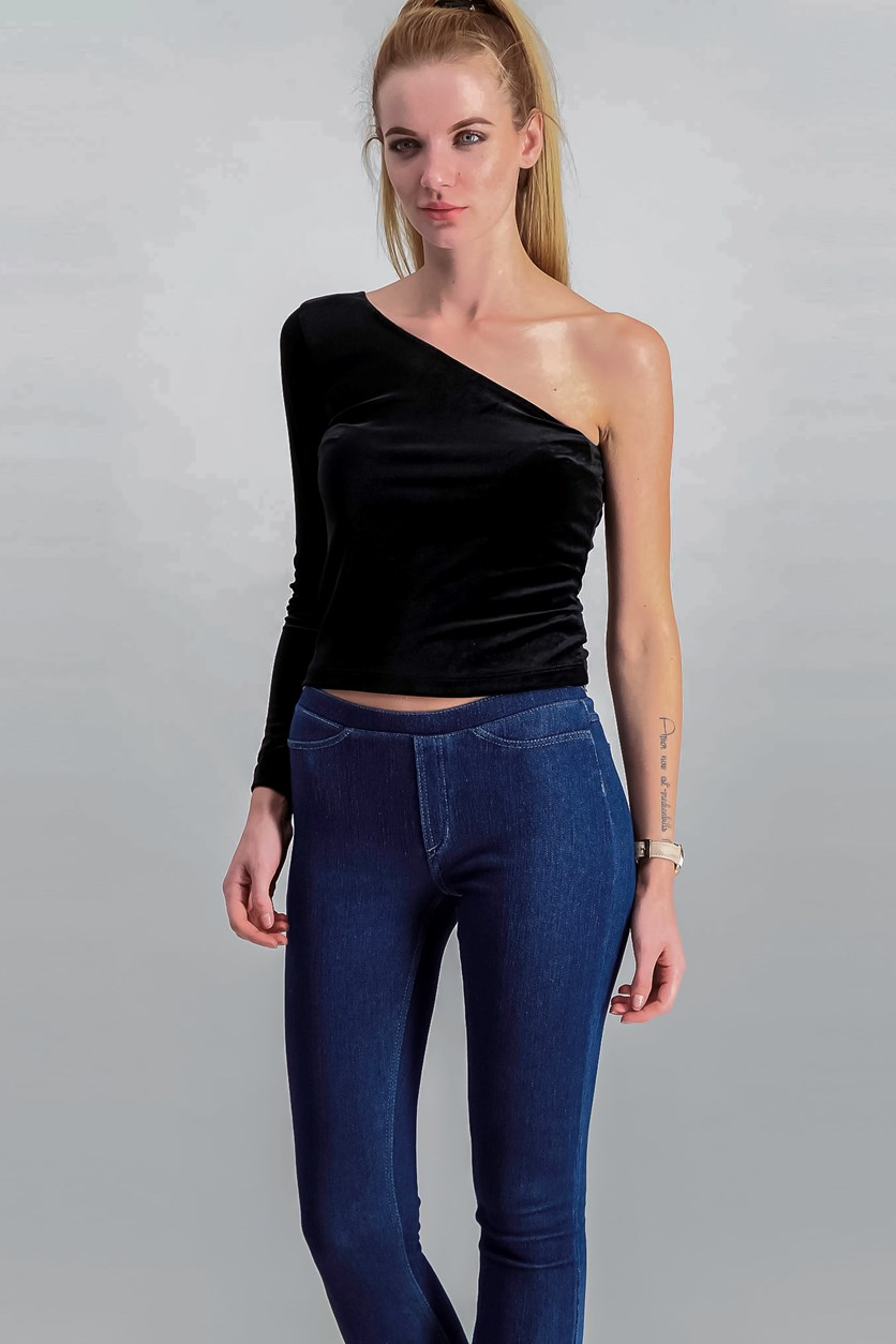 Asymmetric Velvet Top, Black