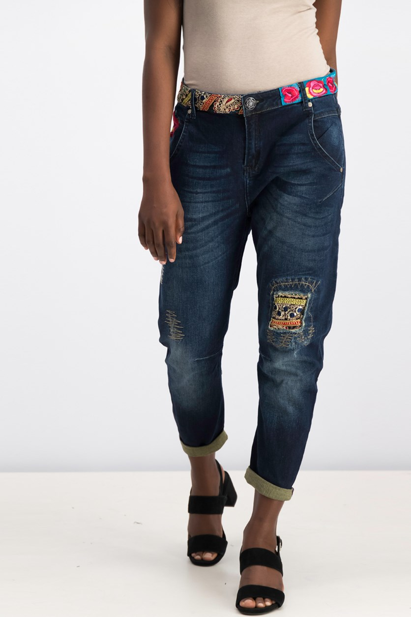 Desigual Womens' Embroidered Trousers, Denim Dark Blue