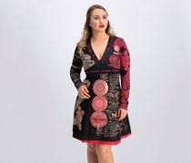 Desigual Long Sleeves Knit Dress, Black/Red