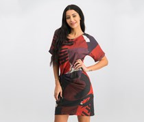 Desigual Women's Short Sleeve Dress, Red/Gray/Black Combo