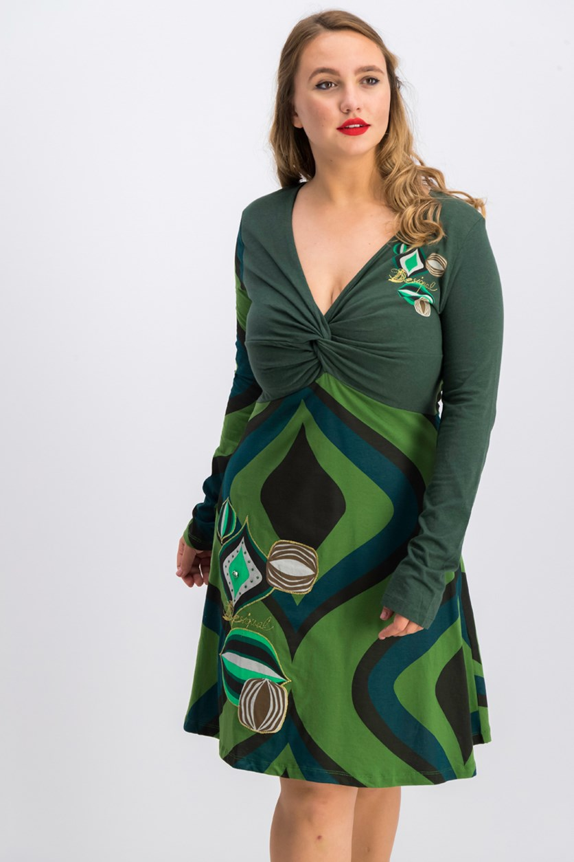 Yacone Long Sleeve Dress, Green