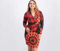 Desigual Charly Skater Long Sleeve Dress, Red/Black