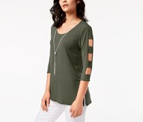 JM Collection Lattice-Sleeve Necklace Tunic, Olive Sprig