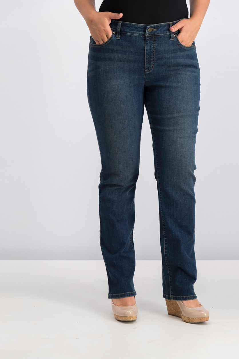 Super Stretch Slimming Classic Straight Jeans, Wash