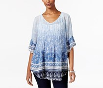 Style & Co Women's Petite Mixed-Print Pintucked, Blue