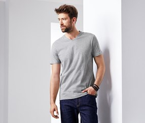 Men's 2 T-Shirts With V-Neck, Gray/Navy