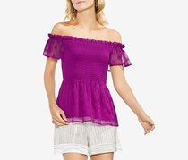 Vince Camuto Women's Smocked Off-The-Shoulder Top, Fuchsia Fury