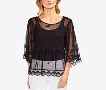 Vince Camuto Scalloped Angel-Sleeve Mesh Blouse, Rich Black